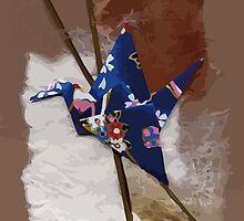 Blue flapping bird # 2 by Julie  Savard