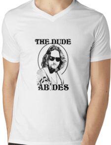 The Big Lebowski Dude Abides Mens V-Neck T-Shirt