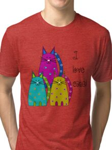 Whimsical Cats  Tri-blend T-Shirt