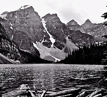 Moraine Lake in Black and White by Linda Bianic