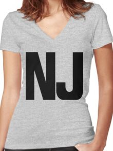 New Jersey NJ Black Ink Women's Fitted V-Neck T-Shirt