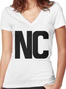 North Carolina NC Black Ink Women's Fitted V-Neck T-Shirt
