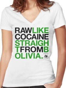 Raw Like Cocaine (v2) Women's Fitted V-Neck T-Shirt