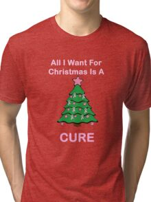 Breast Cancer Christmas Tri-blend T-Shirt