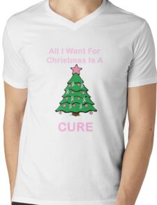 Breast Cancer Christmas Mens V-Neck T-Shirt