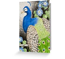 Peacock with Morning glory Greeting Card