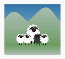 Cute Cartoon Sheep Family Kids Tee