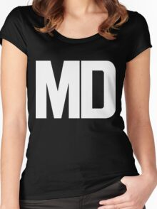 Maryland MD White Ink Women's Fitted Scoop T-Shirt