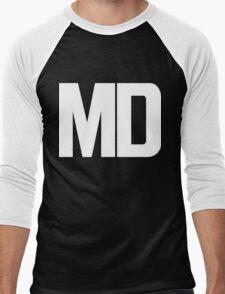 Maryland MD White Ink Men's Baseball ¾ T-Shirt