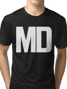 Maryland MD White Ink Tri-blend T-Shirt