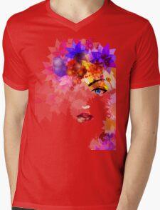 Colorful Flower Women Mens V-Neck T-Shirt
