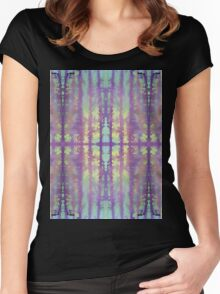aqua violet drips Women's Fitted Scoop T-Shirt