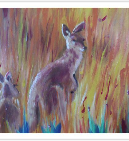 Kangaroos in Long Grass Sticker