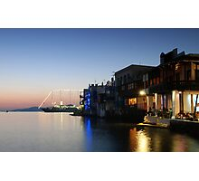 Little venice (Mykonos) by the sunset Photographic Print