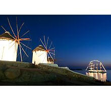 Night view of windmills-Mykonos Photographic Print