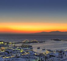Sunset from Mykonos-Panoramic view by hayabusagr