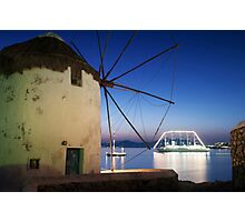 Night view of windmills-Mykonos Photographic Print