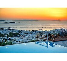 Poolside sunset from Mykonos  Photographic Print