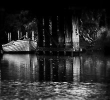 Moored boat Denmark Western Australia by David J Baster