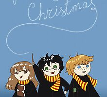 Harry Potter - The Golden Trio - Merry Christmas Card by tinylittlebird