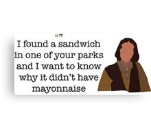 Mayonnaise Lady Parks and Recreation Canvas Print
