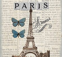 Blue Eiffel Tower with Butterflies Phone Cover by claryce84