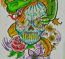 My colored dragon with candy skull by spenardo