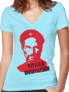 """Steve Jobs """"Che"""" Women's Fitted V-Neck T-Shirt"""