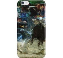 Rodeo Bull Riding Abstract Impressionism iPhone Case/Skin