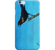 Red-Winged Blackbird Singing Abstract Impressionism iPhone Case/Skin