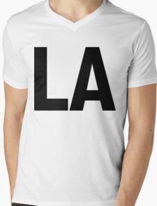 Los Angeles LA or Louisiana LA Black Ink Mens V-Neck T-Shirt
