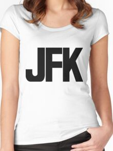 JFK John F Kennedy International Airport Black Ink Women's Fitted Scoop T-Shirt