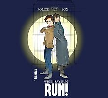 Sherlock Holmes & Dr. Who, When I say run, RUN! Quote, spotlight, phone box, classic by TishatsuDesigns