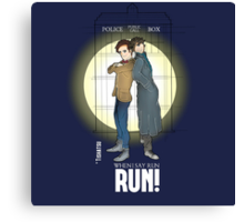 Sherlock Holmes & Dr. Who, When I say run, RUN! Quote, spotlight, phone box, classic Canvas Print