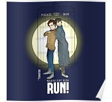 Sherlock Holmes & Dr. Who, When I say run, RUN! Quote, spotlight, phone box, classic Poster