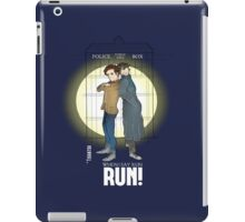 Sherlock Holmes & Dr. Who, When I say run, RUN! Quote, spotlight, phone box, classic iPad Case/Skin