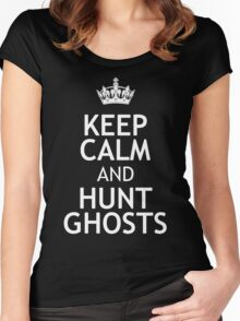 KEEP CALM AND HUNT GHOSTS Women's Fitted Scoop T-Shirt