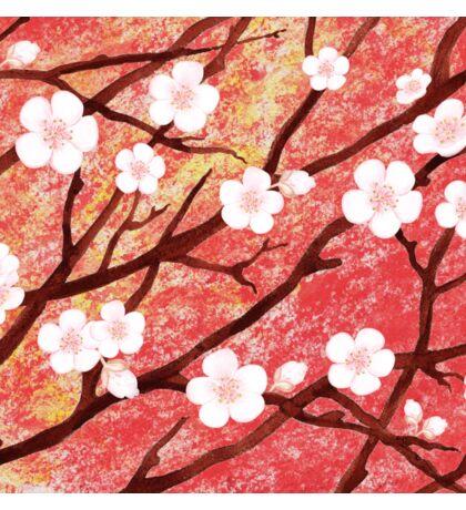 White Blossoms Sunrise Sticker