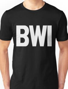 BWI Baltimore Washington International Airport White Ink Unisex T-Shirt