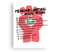 Fear and Loathing in Las Vegas checklist Canvas Print