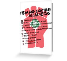 Fear and Loathing in Las Vegas checklist Greeting Card