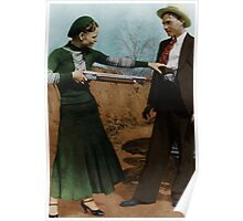 Bonnie & Clyde Colorized Poster