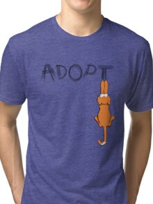 Adopt Cats Dark Claw Marks | Patch & Rusty™ Tri-blend T-Shirt