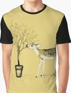 Fawn and Tree (Yellow) Graphic T-Shirt