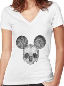 Skull Mouse Women's Fitted V-Neck T-Shirt