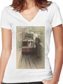 Corcovado Rack Railway Women's Fitted V-Neck T-Shirt