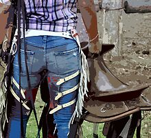 COWGIRL WITH ATTITUDE, the horse is back in the paddock. by Barbara  Jean