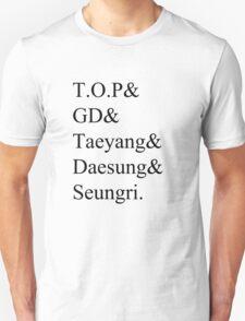 BIGBANG Member Names T-Shirt