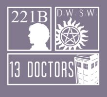 Superwholock fandom Kids Tee