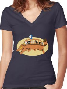 Cat Catbus Women's Fitted V-Neck T-Shirt